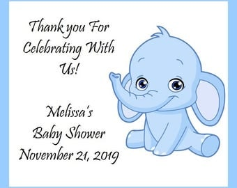 25 Elephant-Animal-Zoo-Personalized Baby Shower Party Favors-Pink or Blue-Custom Photo Magnets