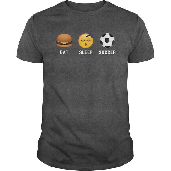 Emoji (emoticon) I Love Soccer Three Sayings (Eat, Sleep, Soccer) T-Shirt