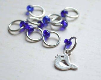 Knitting Stitch Markers -  Little Bird - Snag Free - Made to order in your choice of 4 sizes