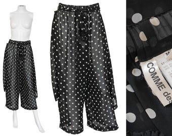 Comme des Garcons 1980s 1990s Vintage Sheer Apron Overlay Trouser Skirt Pant Skirt Polka Dots Black White US Size 6-8 Small-Medium