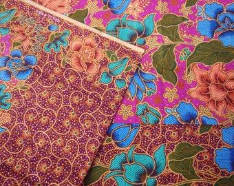 Indonesian batik sarong/fabric.  Purple in colour.  2 metres in length.  Batik Aspara Begum