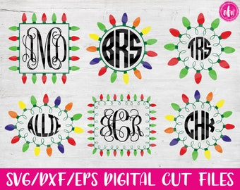 Christmas Lights Monogram Frame Big Bundle, SVG, DXF, EPS, Cut File, Vinyl, Vector, Holiday, Tree, Ornament, Elf, Silhouette, Cricut