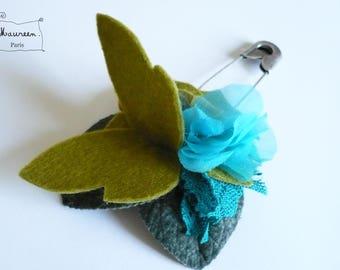 Garden Butterfly green-turquoise (OOAK) brooch