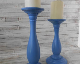 Wood Pillar Stands-Pair of Candle Holders -Blue Candle Holders - Pillar Candle Holders - Painted Candle Holders - Upcycled Candle Stands