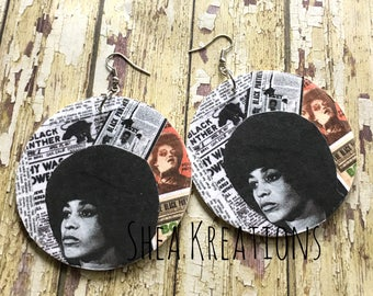 Angela Davis Earrings, Black Panther Party, 60s and 70s Activist, Serving Community,Newspaper Pop Art