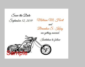 100 Personalized Custom Harley Motorcycle Wedding Bridal Save the Date Cards Announcement + envelopes