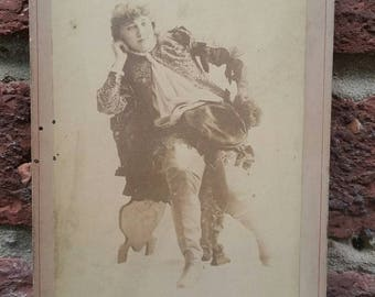 Vintage Victorian Cabinet Card // Newsboy New York // Actress Photo Marie Dantes