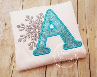 Snowflake Monogram Custom Tee Shirt - Customizable - 35b