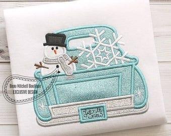 Snowman and Snowflake Vintage Truck Custom Tee Shirt - Customizable 59