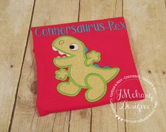 Dinosaur Custom Tee Shirt - Customizable -  Infant to Adult 60 red