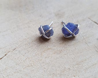 Raw Tanzanite Earrings Rough Tanzanite Stud Earrings Natural Gemstone Earrings Silver Tanzanite Earrings Blue Earrings