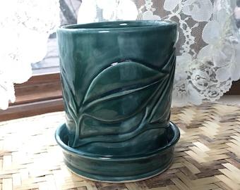 Hand Carved Flower Pot in Forest Green Porcelain