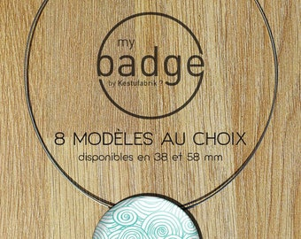 Japanese inspired badge necklace - 58mm