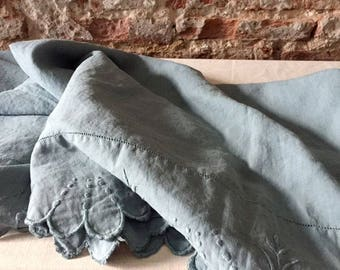 Antique 100 % linen french sheet, dyed powdery teal blue with hand embroidered festone' finish