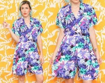 Neon Romper // Purple Safari Jumper // Short Sleeve Collared Bold Print Elastic Waistband Size Medium