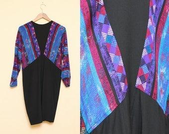 Silk Dress // Tribal Print Dress // 1980s Argenti Hipster Geometric Chevron Pattern Shift Dress Size 4 6 Small