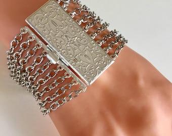 Multi Chain Bracelet, Silver Plated Bracelet, Silver Bracelet, Silver Jewelry, Chain Bracelet, Bracciale in argento, Bracelet en argent,