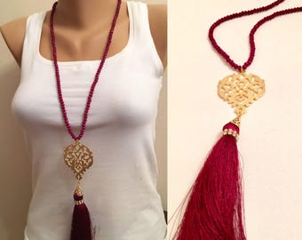 Authentic Dark Red Crystal Beaded Authentic Necklace, Handmade Red Crystal Long Necklaces, Crystal Gold Jewelry, Long Tassel Necklace, Gift