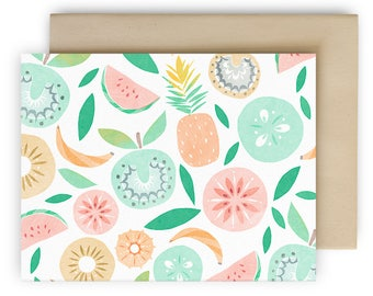 Tropical fruits blank note cards