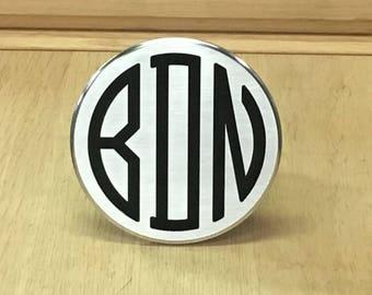 Circle monogram hitch cover