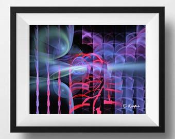 Blue red abstract art, fractal art, giclee print, minimalist art, modern art, geometric art, abstract art,sacred geometry,computer geek gift