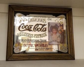 Vintage Coca ColaCo Miror, Coke Wall Hanging, Sign Art 1950s