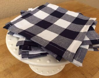 Lunchbox Cloth Napkins, Set of 12, Blue and White Buffalo Gingham Check, 5 inch, by CHOW with ME
