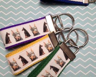 Doberman Pinscher Dog Keychain Fob