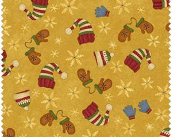 Christmas Fabric/Winter Snowflakes, Hats, Mittens/Gold, Red, Blue/Quilters Cotton/Sewing Material/Fat Quarter, Half, By The Yard, Yardage