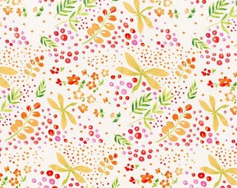 Flower Fabric/Pink, Orange Flowers/Yellow Dragon Flies/Cotton Material/Quilting, Clothing Craft Yardage/Fat Quarter, Half, By The Yard