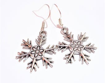 Snowflake antique charm earrings chic casual women gift