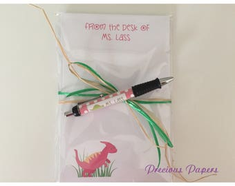 Personalized dinosaur notepad and pen set Teacher notepads teacher pens dinosaur Gifts dinosaur classroom