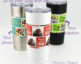 Personalized photo insulated steel mug 20 oz  in white, black or stainless  You add photo and caption photo cup