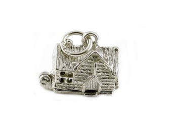 Sterling Silver Opening Village Pub Charm For Bracelets