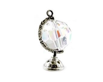 Sterling Silver & Swarovski Crystal Globe Charm For Bracelets