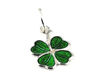 Sterling Silver Enamelled Four Leaf Clover Charm For Bracelets