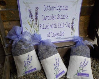 Lavender Sachets, Cotton and Organza, Wedding Favors, Shower Favors, Bridesmaids Gifts, Bridal Shower Favors, Holiday Gifts Set of 20