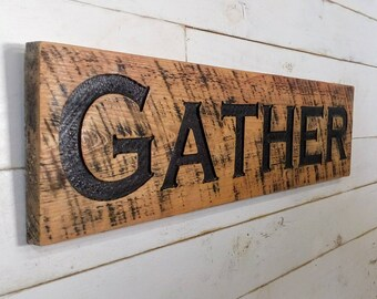 """Gather Sign 40""""x10"""" Horizontal - Carved in a Cypress Board Rustic Farmhouse Style Stained"""