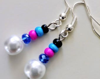 Blue and Pink Pearls Dangle Earrings