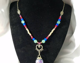 Multicolor Gem Glass Ball Pendant Necklace