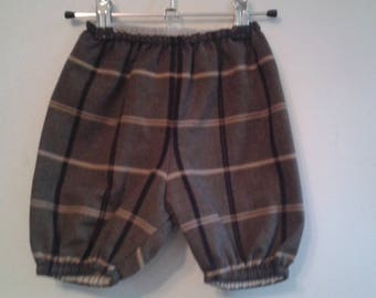 reversible bloomers in cotton and linen Plaid dark brown / beige 6 / 12 months