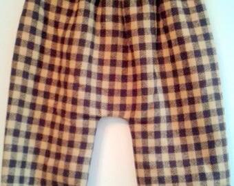 reversible wool Plaid harem pants / cotton geometric 6-12 months