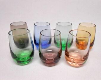 Colored Shot Glasses Mid Century Modern Barware Set of 7 Vintage