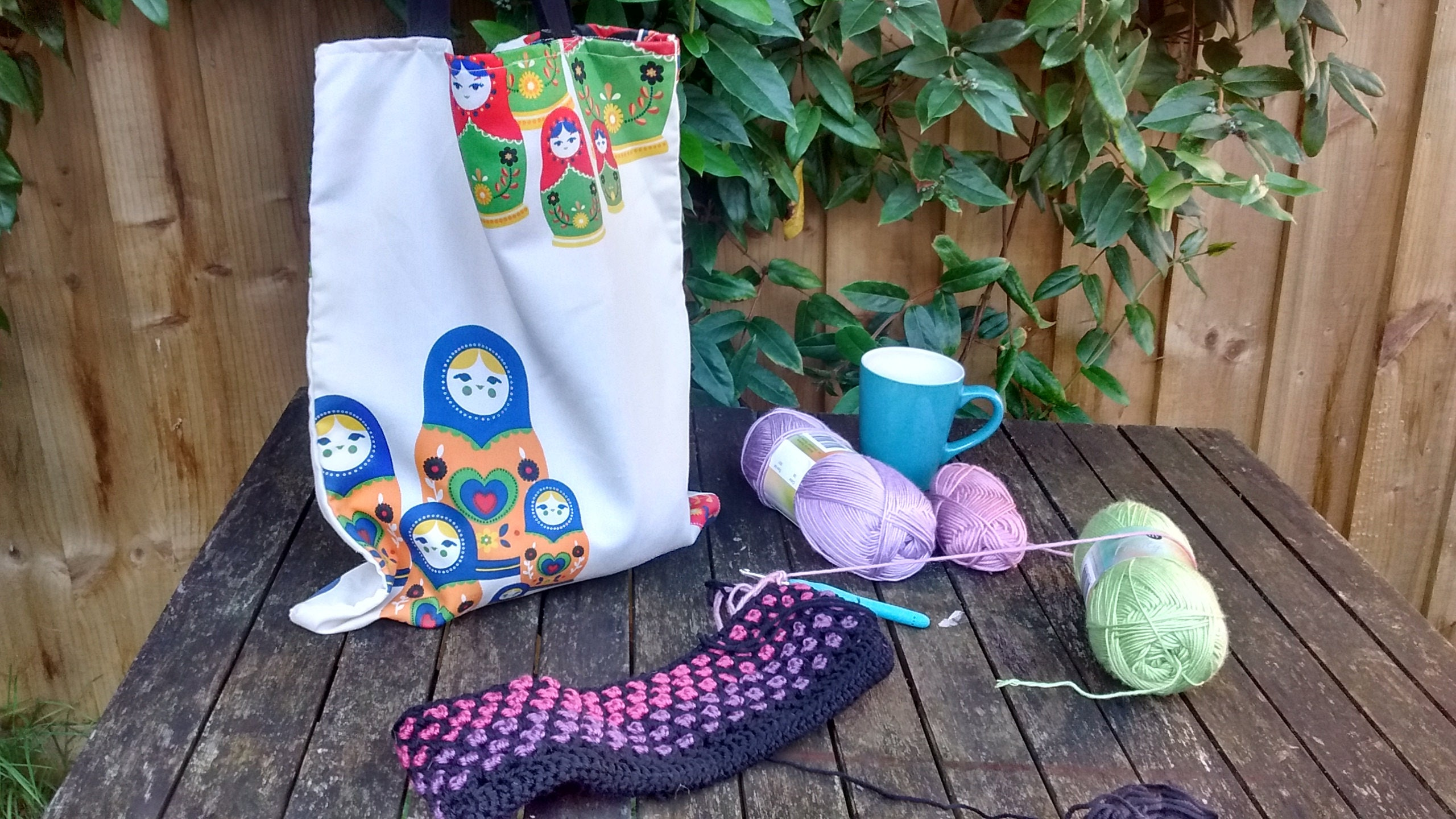 Reusable fabric shopping bag, project bag, book bag in Russian Doll ...