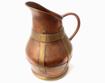 "Vintage large French copper and brass pitcher  jug 12"" tall"