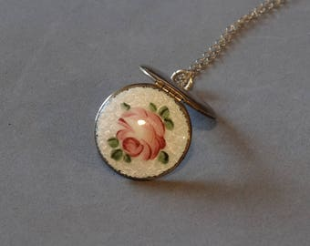 Vintage Guilloche Round Locket Necklace Pink Green White Enamel Rose Flower 14K GF Chain Antique Jewelry Gift for Sweetheart Daughter Mother