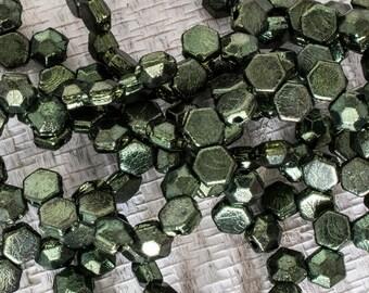 6mm Red Green Iris Czech Glass Honeycomb Beads, 4960, Red Green Iris 6mm Honeycomb Bead, 30 Beads, Red Green Iris Honeycomb Beads