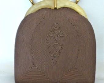 Caffe au Lait Corde Bag with Lucite Decoration