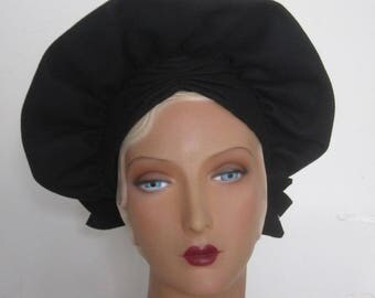 Luna - 1940's Wide Brim Black Wool Felt Halo Hat