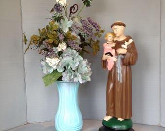 Vintage Antique Plaster Statue of Saint Anthony lovingly holding the  Child Jesus
